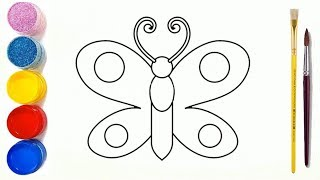 Coloring and drawing beautiful butterfly for kids learning colors for toddlers