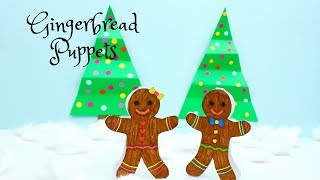 Gingerbread Puppets (Free PDF Printable Paper Toy) - Christmas Crafts for Kids.