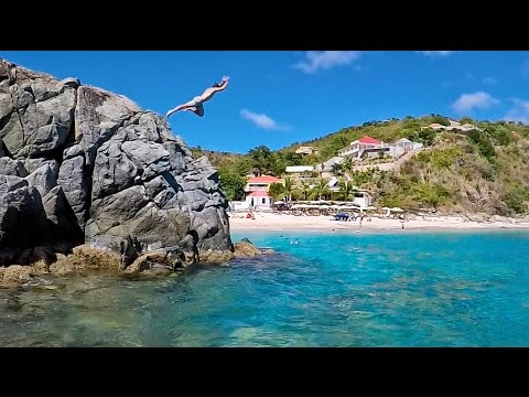 Risky Cliff Jump in St. Barths