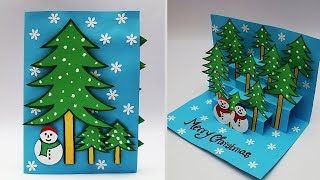 DIY 3D Christmas Pop Up Card | How to Make Christmas Greeting Card | Handmade Christmas Cards