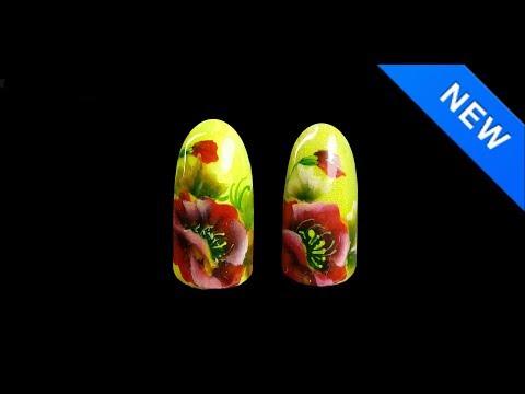 Китайская роспись на ногтях пошагово маки