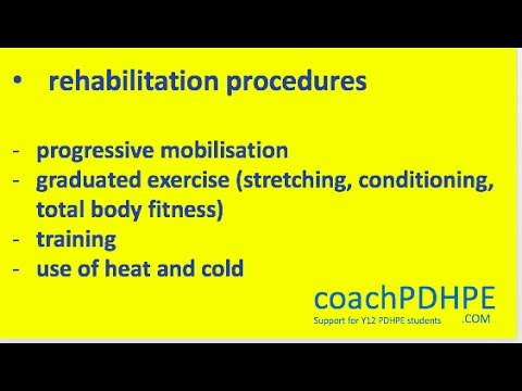 HSC PDHPE Option 3 Sports Medicine.  Rehabilitation procedures