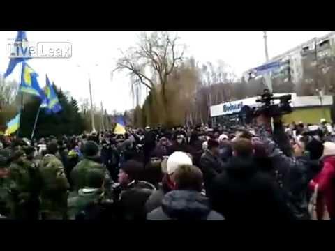 People in Ukraine protest against Kiev mobilizatio