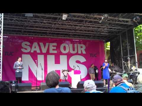 September 29 2013: Frances OGrady Save Our NHS rally in Whitworth Park Manchester