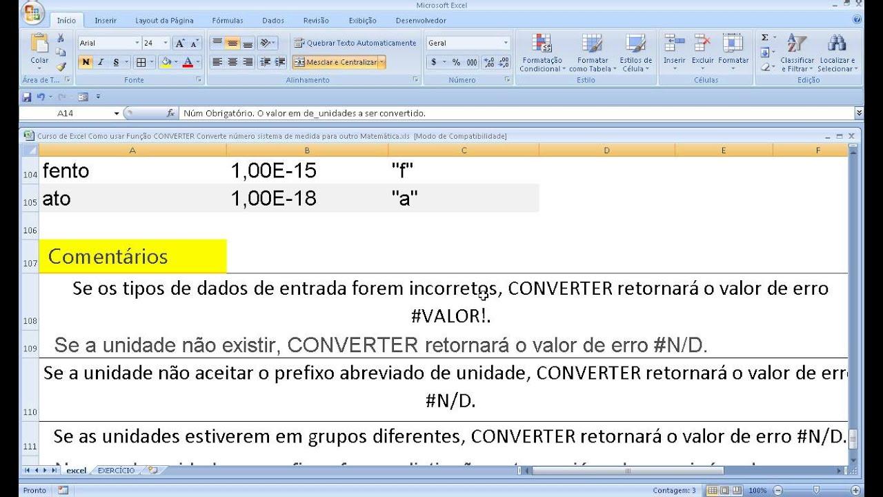 Curso de Excel Como usar Função CONVERTER Transformar