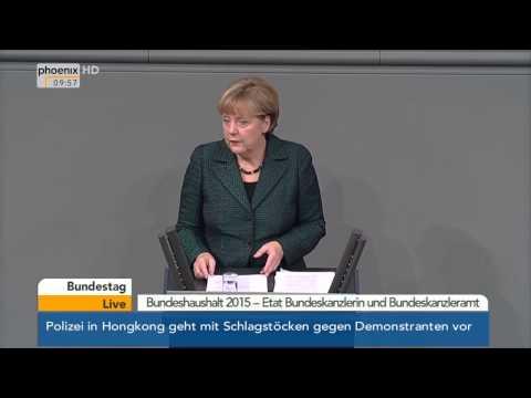 Generalaussprache: Angela Merkel zum Etat des Bundeskanzleramtes am 26.11.2014