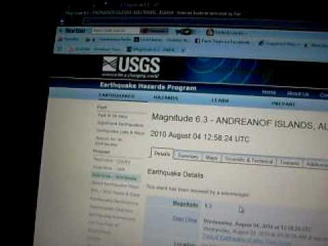 6.3 Earthquake (Andreanof Islands, Aleutian Is, Alaska) 04Aug2010