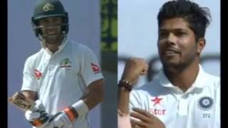 Ind VSAus : : Umesh Yadav shows muscle power, breaks Glenn Maxwell's bat