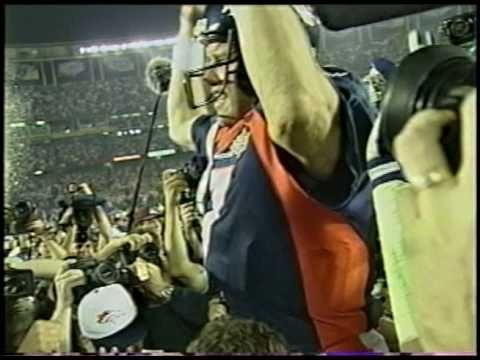 Super Bowl XXXII John Elway helicopter play and post game celebration raw
