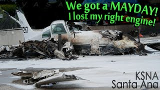 Cessna 310R CRASHES on 405 Freeway after RIGHT ENGINE FAILURE!