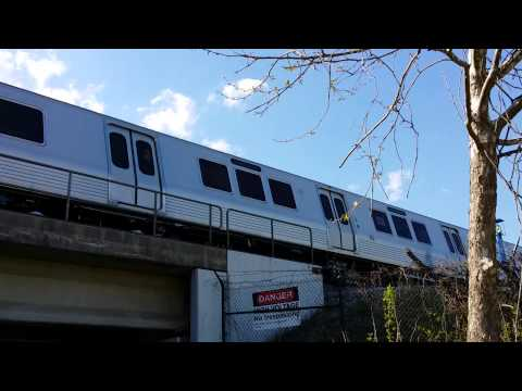 As part of the acceptance testing that Metro is performing on the 7000-Series railcars prior to their entering revenue service, a set of railcars accelerates to travel north (direction of Greenbelt...