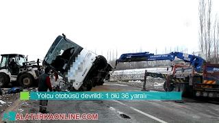 Sivas'ta Yolcu otobüsünün devrilme anı - Yeni Barış Turizm Kaza Yapan Otobüs