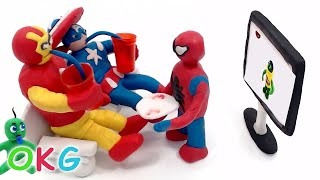 Watching Stop Motion on TV Captain America Iron Man Spiderman Hulk Movie Clips Claymation Video