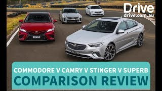 Comparison Test: 2018 Commodore v Camry v Stinger v Superb  | Drive.com.au