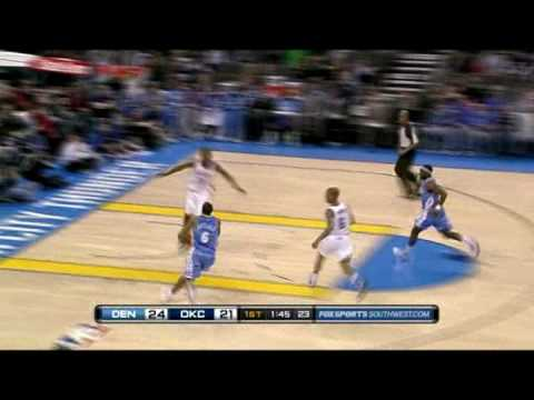Kevin Durant Blocks Aaron Afflalo With Only 1 Shoe ON [1.29.10]
