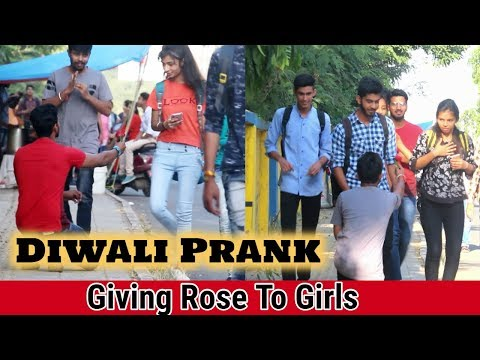 Diwali Prank | Giving Rose To Girls Prank | Epic Reaction | Oye Indori