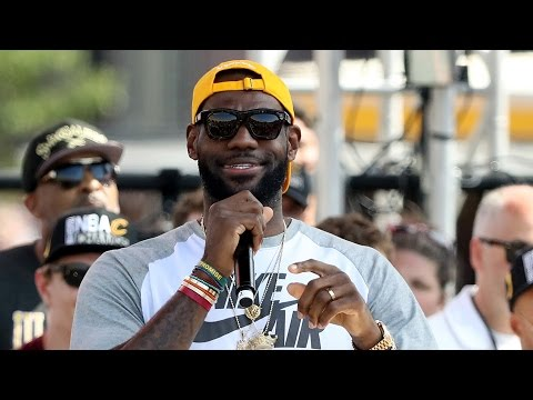 LeBron James Roasts Stephen Curry & Drops F-Bombs During Cavs Parade Speech