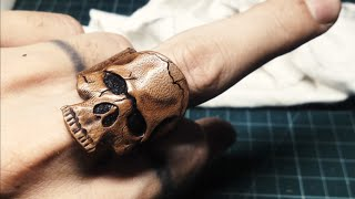 How To Make Leather Carving skull ring 革の指輪
