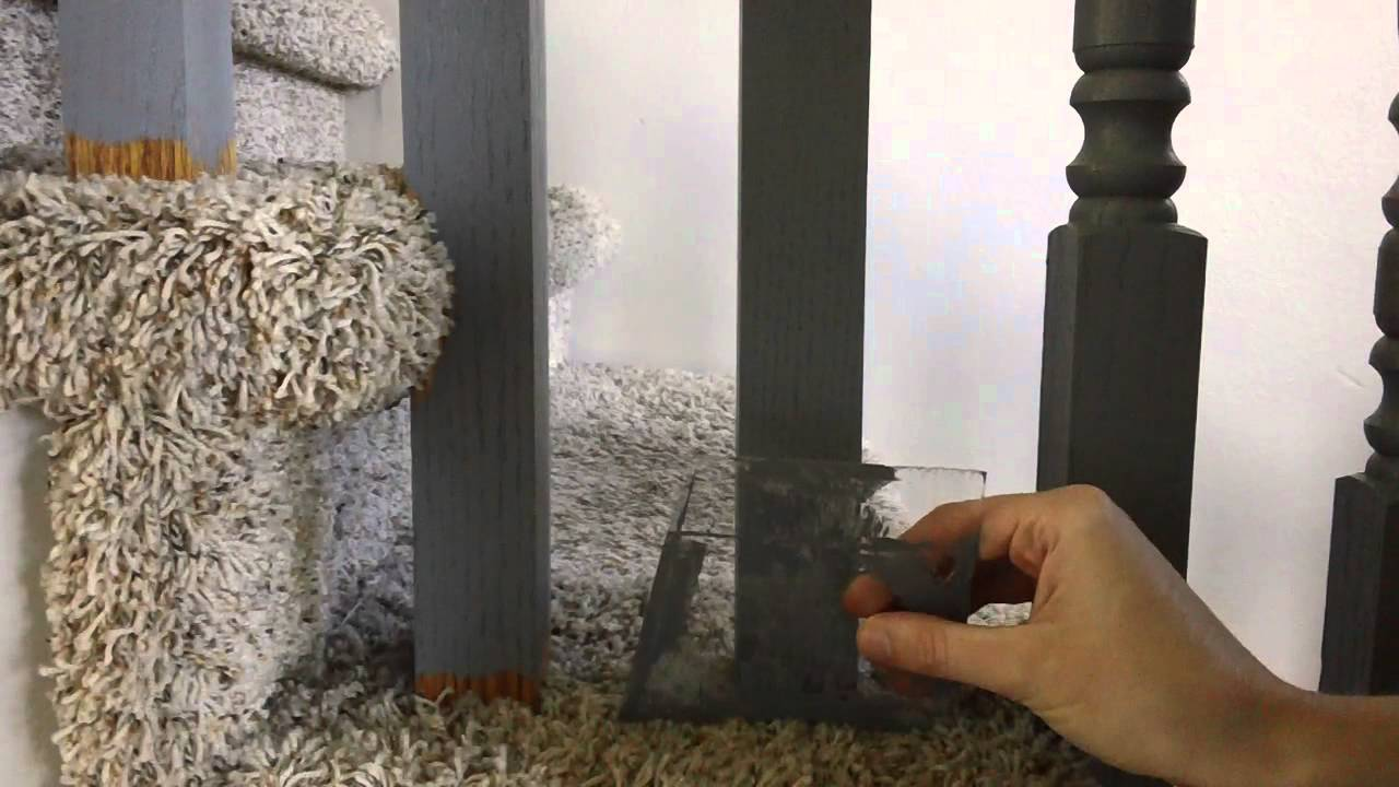 How To Paint Spindles On A Carpeted Staircase Youtube