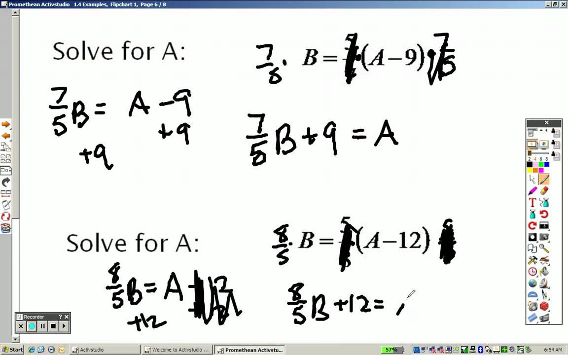 Examples of Algebraic Equations Algebra 2 1.4 Examples