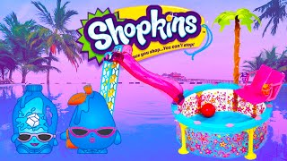 Shopkins Summer Pool Party In The Barbie Glam Pool Ultra Rare & Baby Shopkins Kids Toys Fun