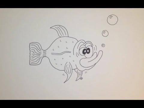 Comment dessiner un poisson facile tape par tape tutoriel youtube - Dessiner des poissons ...