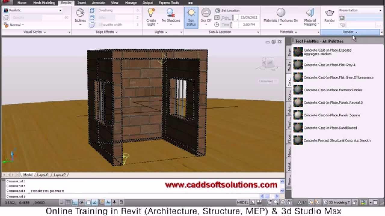 AutoCAD 3D Rendering Tutorial | AutoCAD 2010 - YouTube