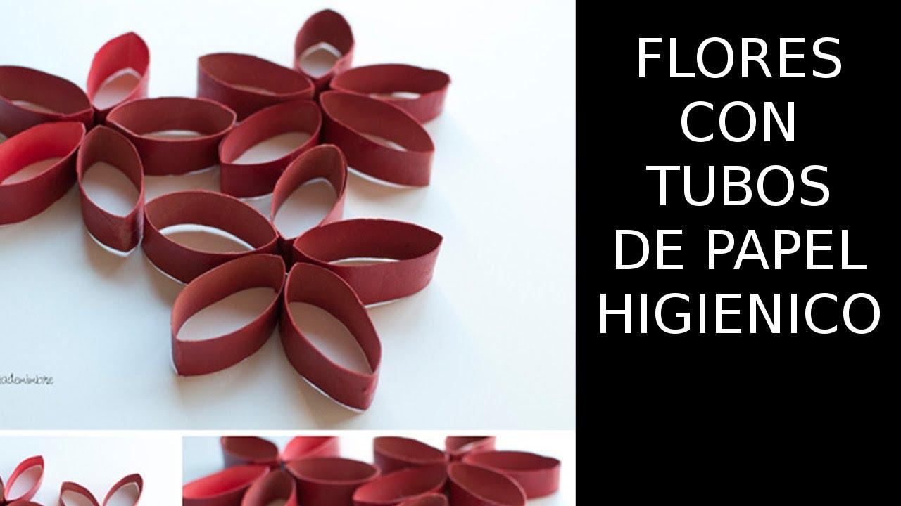Reciclaje de papel flores con tubos de papel higienico - Manualidades de papel reciclado ...