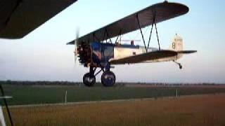 Stearman C3B flyby of Antique Airfield