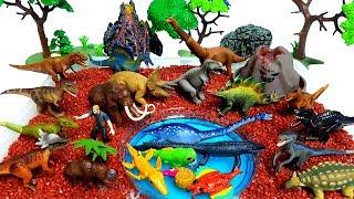 쥬라기월드 공룡메카드 장난감 공룡섬 화산폭발 슬라임 모래놀이