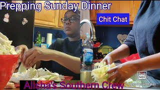 Cutting and cleaning cabbage Sunday dinner || Chit Chat