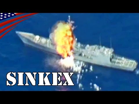 US Navy Frigate Sinking with Anti-Ship Missile & Torpedo: RIMPAC SINKEX - 実艦標的撃沈演習 対艦ミサイル・魚雷命中