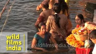 Women bathing in Ganges river during Shivratri Varanasi