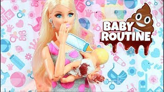 Barbie and two babies morning bedroom bathroom routine