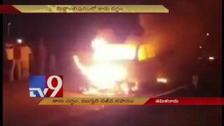 3 charred to death as car catches fire in Tamil Nadu