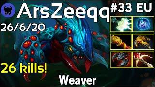 26 kills! ArsZeeqq plays Weaver!!! Dota 2 7.21