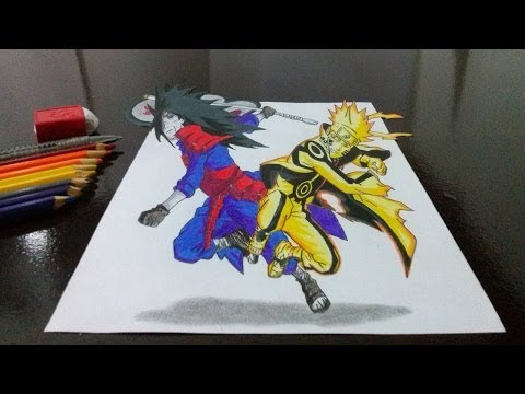 Desenhando Naruto Vs Madara Em 3d (drawing Naruto X Madara In 3d) video