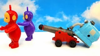 TELETUBBIES toys and crazy Noo Noo shot with the cannon. Funny Video for Kids