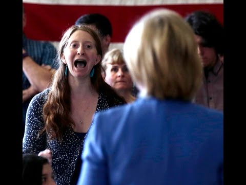 Hillary Clinton incoherent on #ClimateChange, heckled by women activists in NH