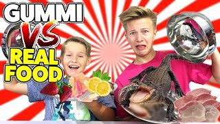 REAL FOOD vs. GUMMY FOOD 😲 DAS will KEINER essen 😁 TipTapTube Family 👨‍👩‍👦‍👦