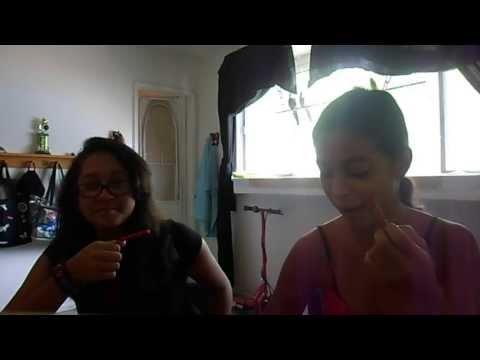 Angelica and Jenny do the cinnamon challenge.