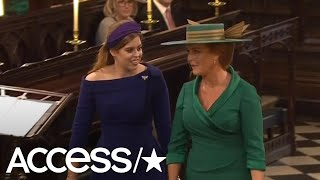 Princess Beatrice & Sarah Ferguson Look Radiant As They Arrive At Princess Eugenie's Wedding