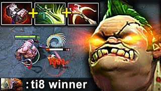 WTF Best Carry PUDGE BASHER + DAEDALUS + BUTTERFLY DOTA 2 Patch 7.15 NEW META Gameplay #107
