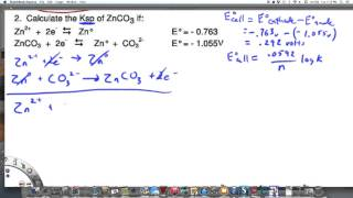 Calculating Ksp of Zinc Carbonate using electrode potentials