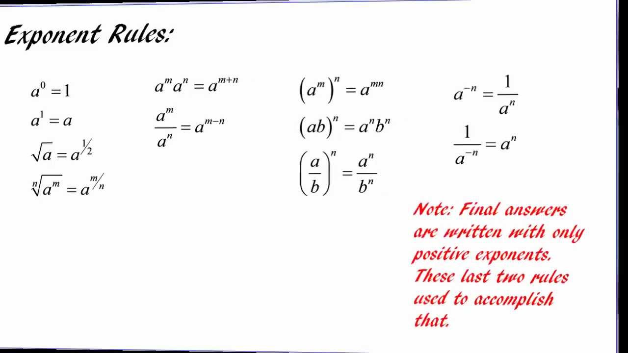 Exponent Rules Using Exponent Rules
