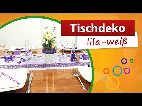 ♥ Tischdeko Lila Weiß ♥ Tischdekoration - Trendmarkt24