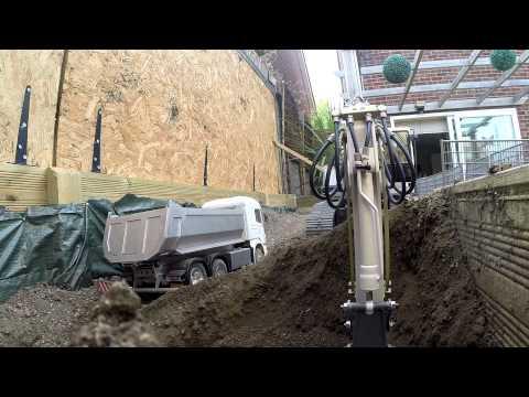 Scania Tamiya 6x6 Tipper Truck And Liebherr R 944B Premacon Hydraulic Excavator Moving Some Dirt
