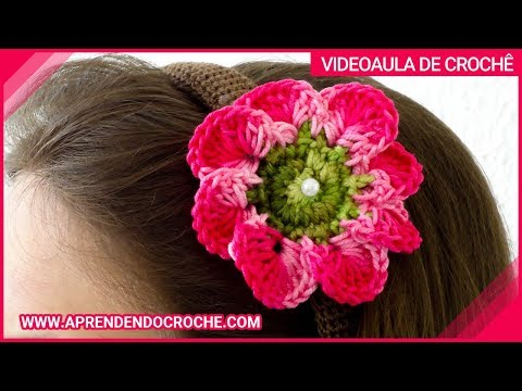 Tiara Revestida em Croche — Aplicação de Flor — Aprendendo Crochê