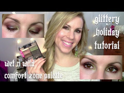 Holiday Tutorial   Glittery Green & Brown Smokey Eyes   Wet n Wild Comfort Zone Palette