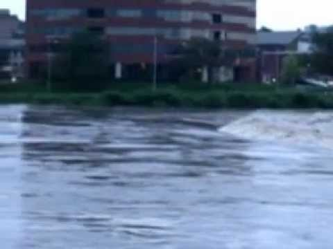 Route 611 Delaware River in Easton, Pennsylvania under flood